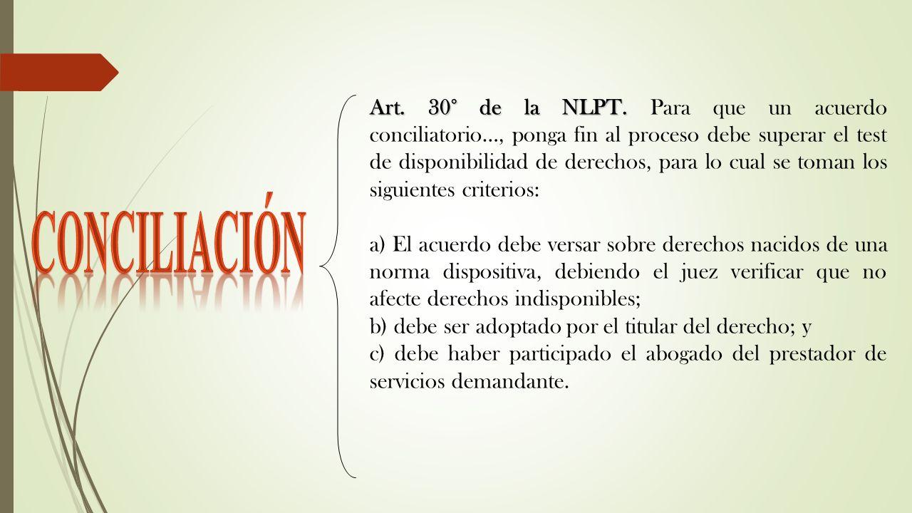 Art. 30° de la NLPT. Para que un acuerdo conciliatorio…, ponga fin al proceso debe superar el test de disponibilidad de derechos, para lo cual se toman los siguientes criterios: