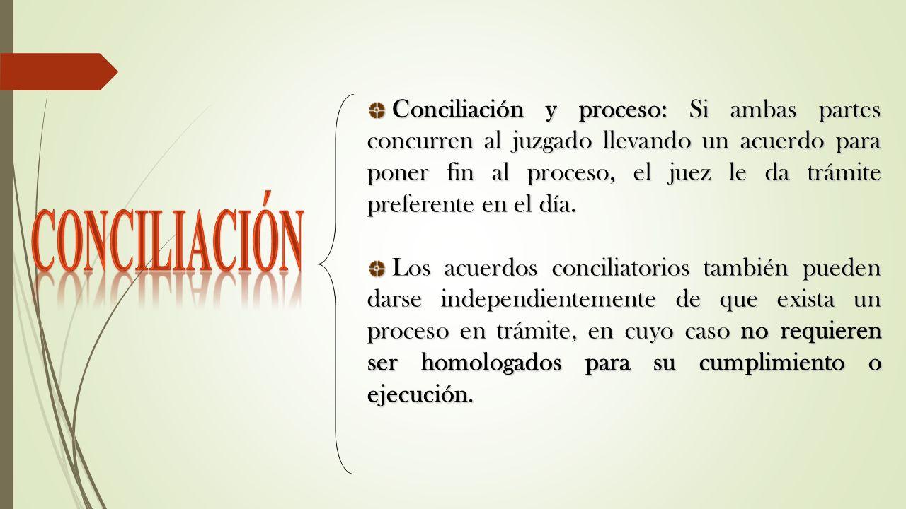 Conciliación y proceso: Si ambas partes concurren al juzgado llevando un acuerdo para poner fin al proceso, el juez le da trámite preferente en el día.
