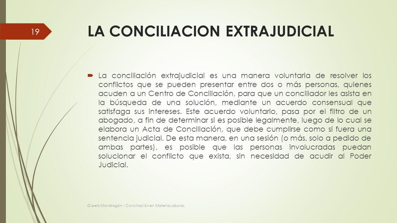 LA CONCILIACION EXTRAJUDICIAL