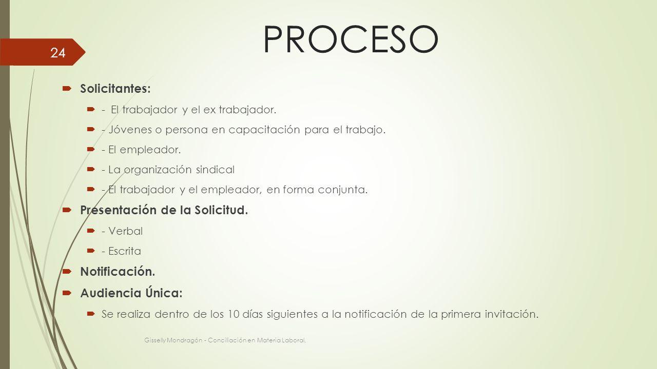 PROCESO Solicitantes: Presentación de la Solicitud. Notificación.