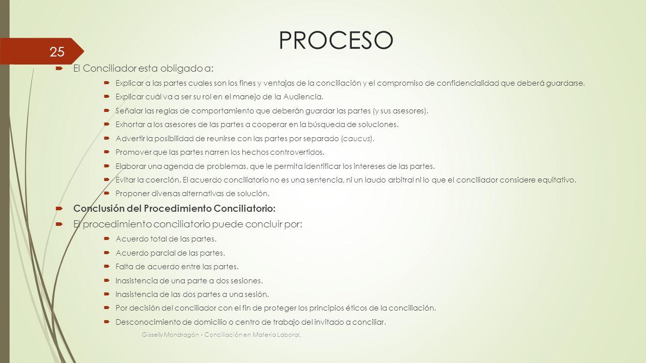 PROCESO El Conciliador esta obligado a:
