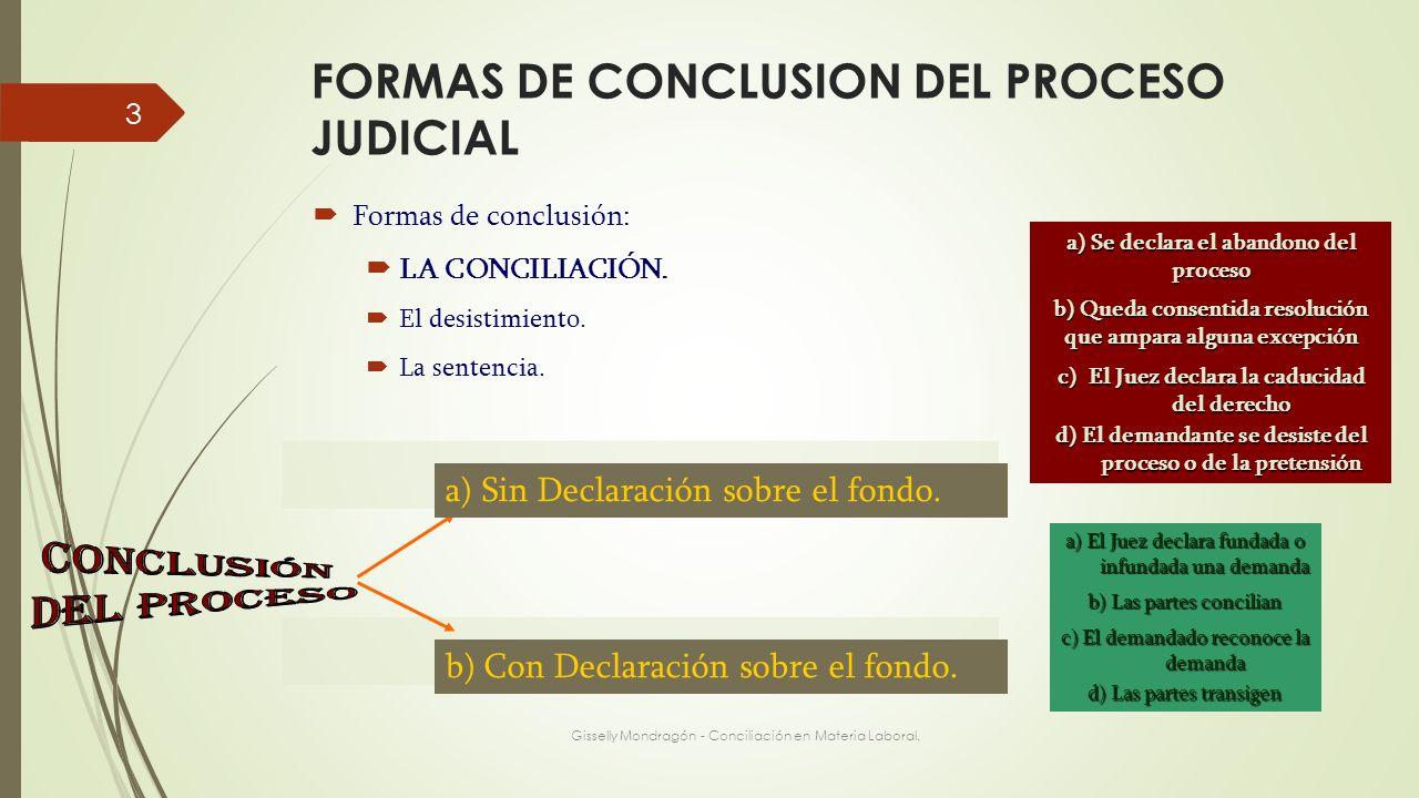 FORMAS DE CONCLUSION DEL PROCESO JUDICIAL