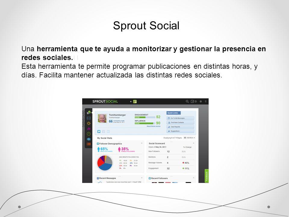 Sprout SocialUna herramienta que te ayuda a monitorizar y gestionar la presencia en redes sociales.