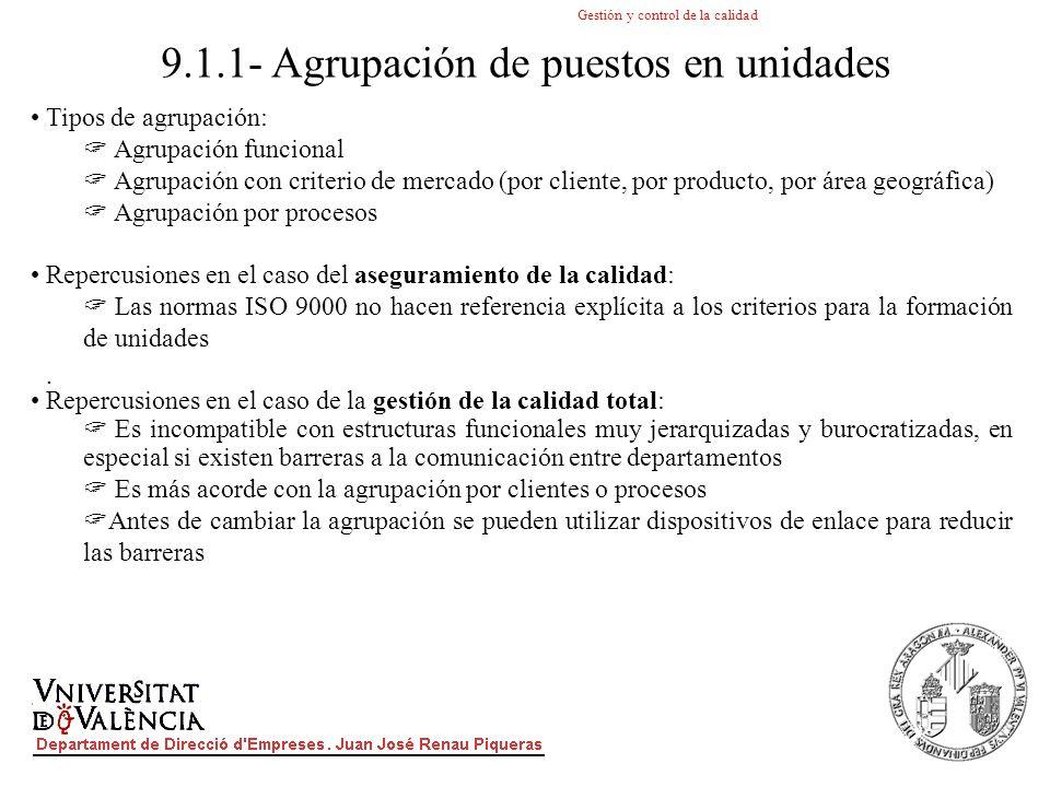 9.1.1- Agrupación de puestos en unidades