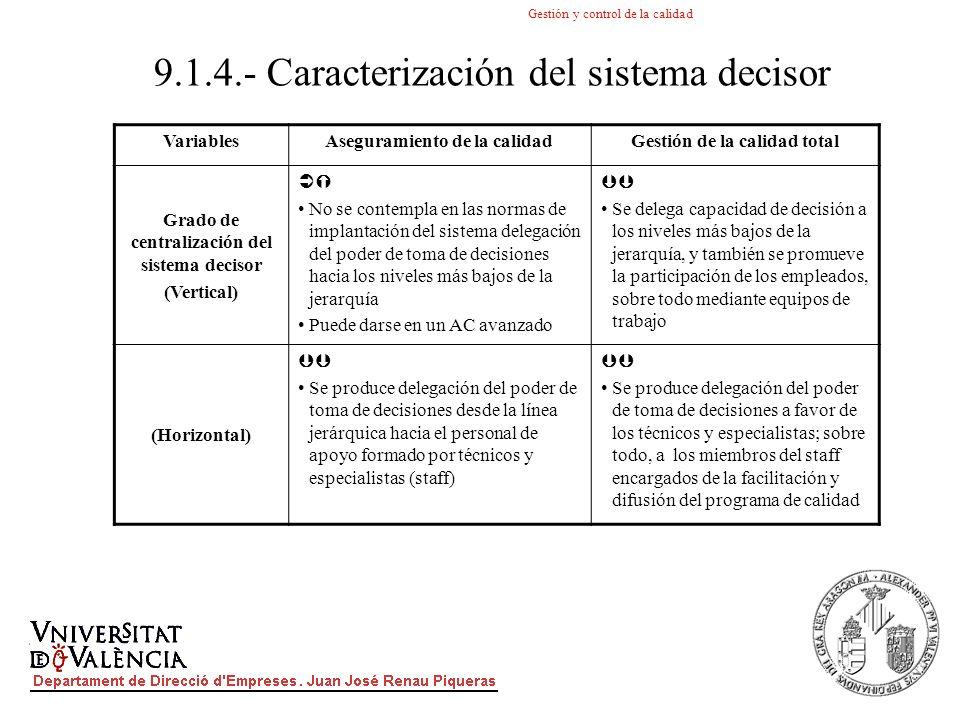 9.1.4.- Caracterización del sistema decisor