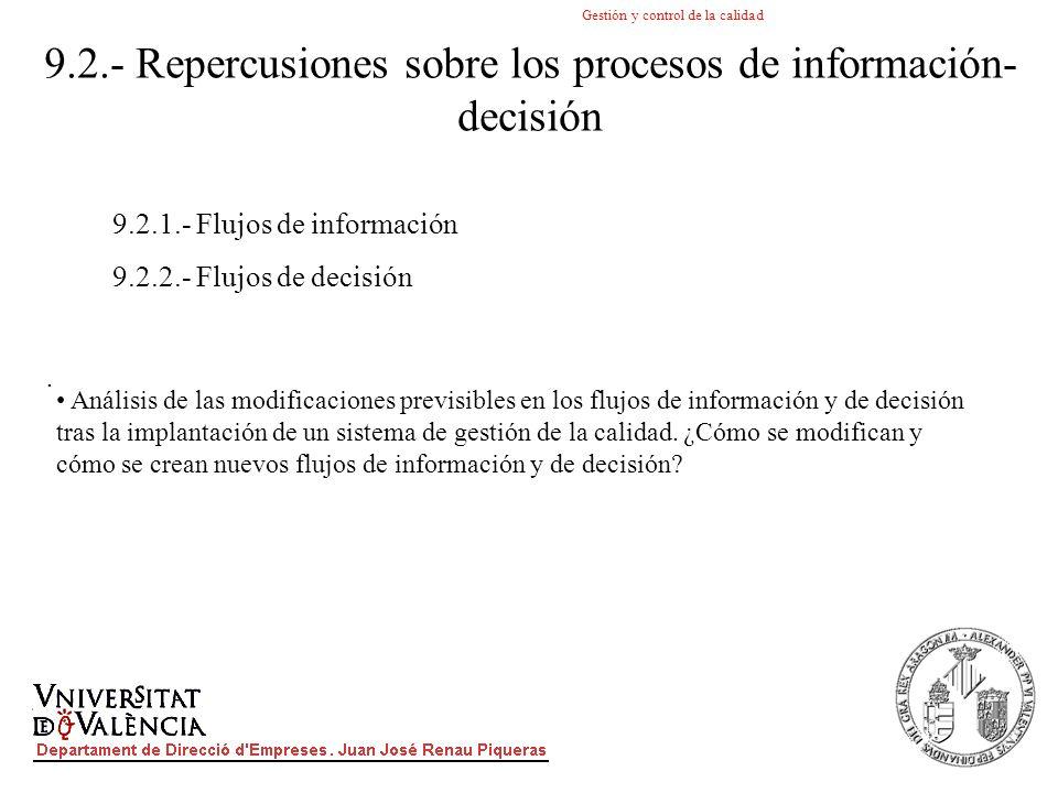 9.2.- Repercusiones sobre los procesos de información-decisión