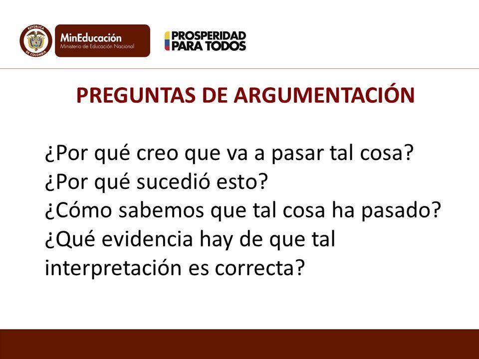 PREGUNTAS DE ARGUMENTACIÓN