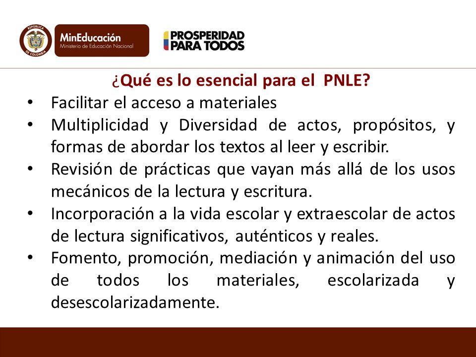 ¿Qué es lo esencial para el PNLE