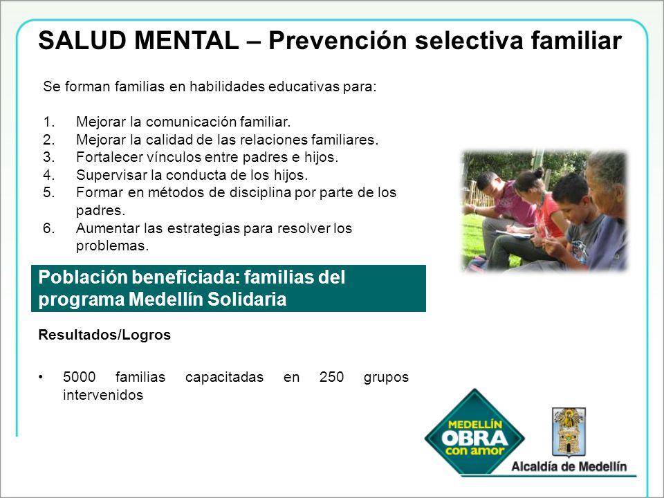 SALUD MENTAL – Prevención selectiva familiar