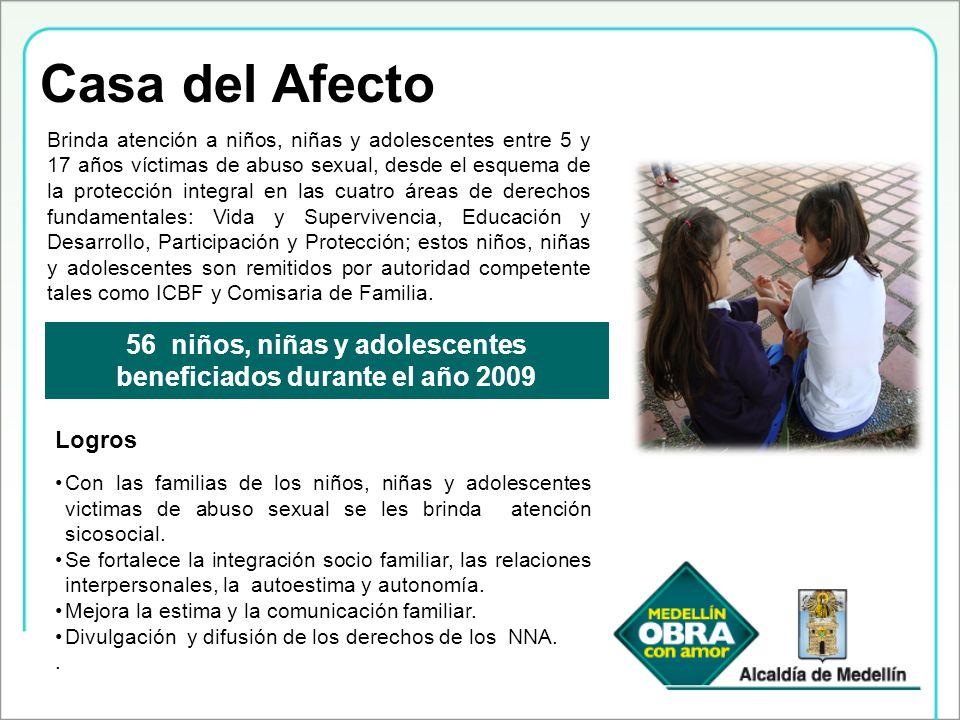 56 niños, niñas y adolescentes beneficiados durante el año 2009
