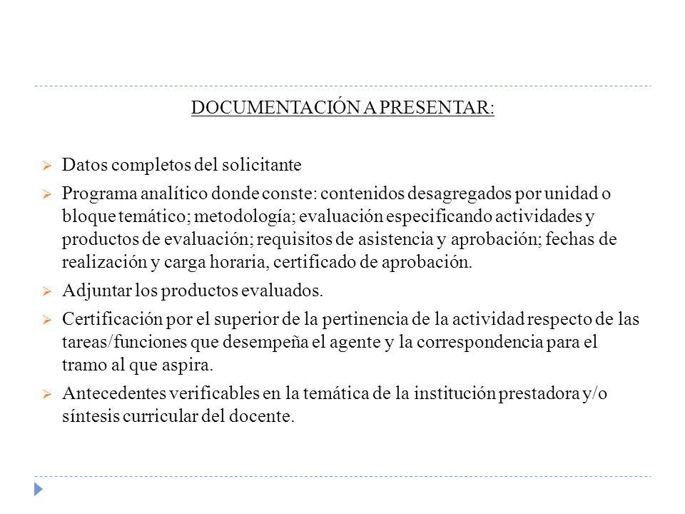 DOCUMENTACIÓN A PRESENTAR: