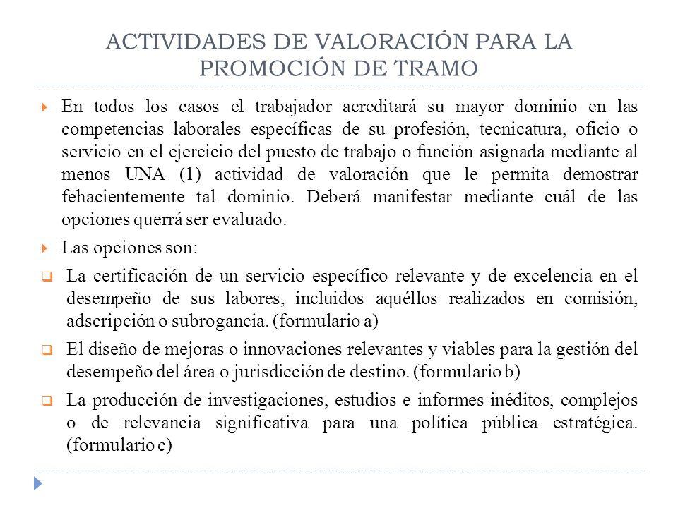 ACTIVIDADES DE VALORACIÓN PARA LA PROMOCIÓN DE TRAMO