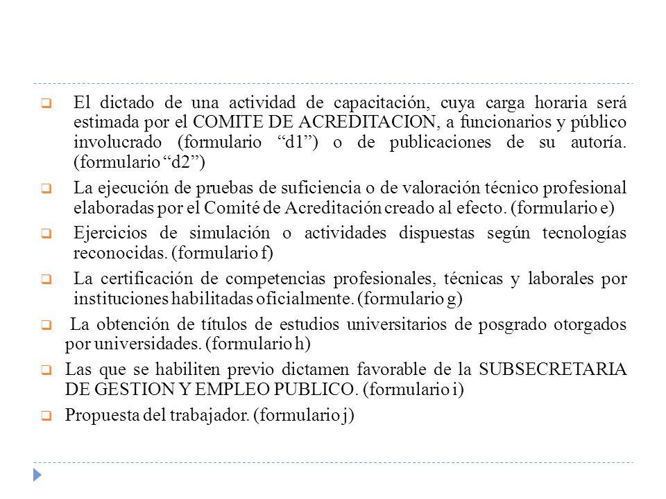 El dictado de una actividad de capacitación, cuya carga horaria será estimada por el COMITE DE ACREDITACION, a funcionarios y público involucrado (formulario d1 ) o de publicaciones de su autoría. (formulario d2 )