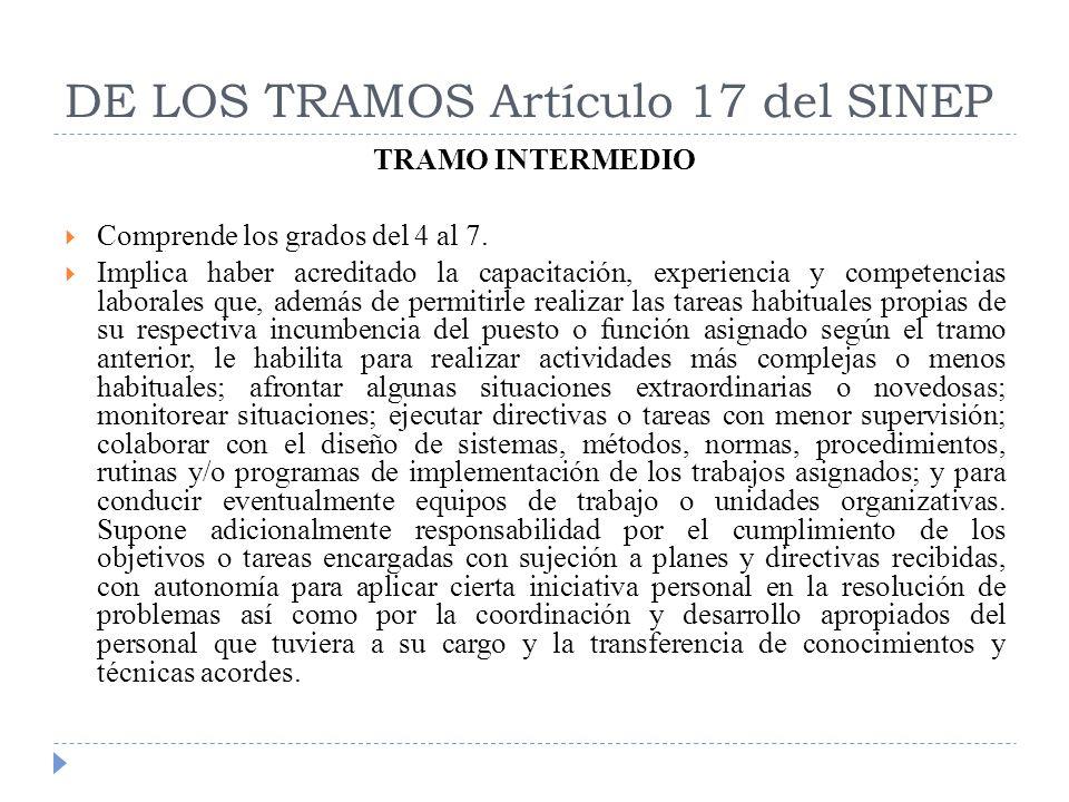 DE LOS TRAMOS Artículo 17 del SINEP