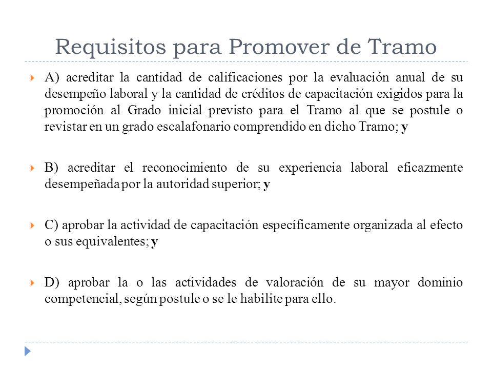 Requisitos para Promover de Tramo