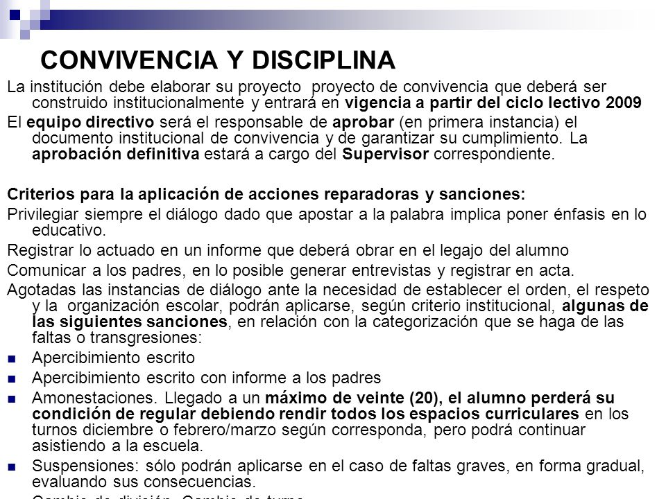 CONVIVENCIA Y DISCIPLINA
