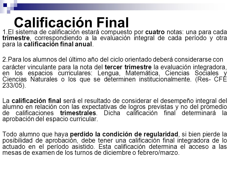 Calificación Final