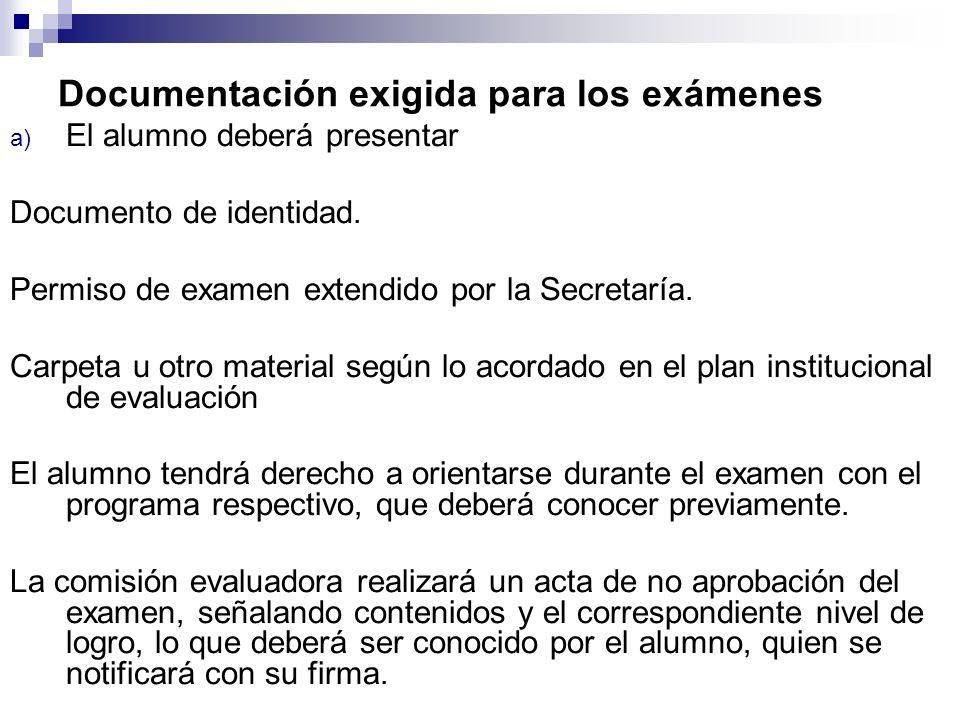 Documentación exigida para los exámenes