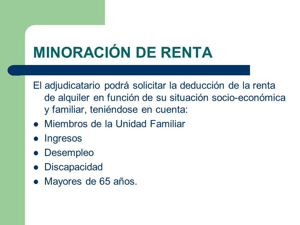 MINORACIÓN DE RENTA