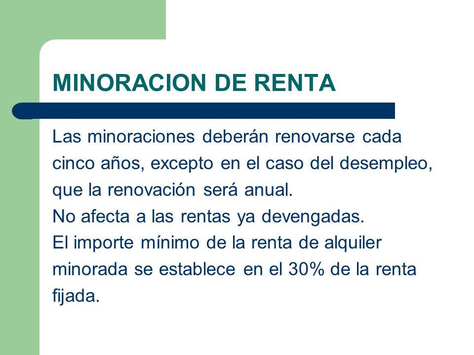 MINORACION DE RENTA Las minoraciones deberán renovarse cada