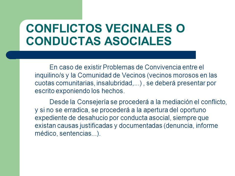 CONFLICTOS VECINALES O CONDUCTAS ASOCIALES