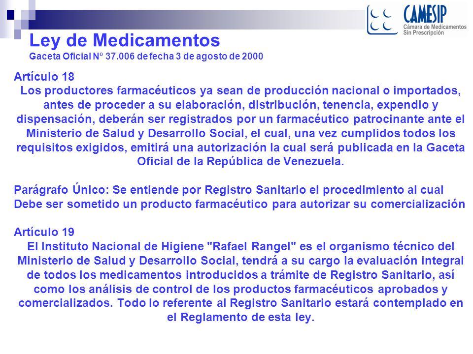 Ley de Medicamentos Gaceta Oficial Nº 37