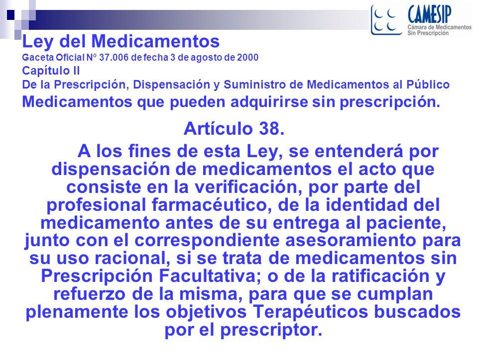 Ley del Medicamentos Gaceta Oficial Nº 37
