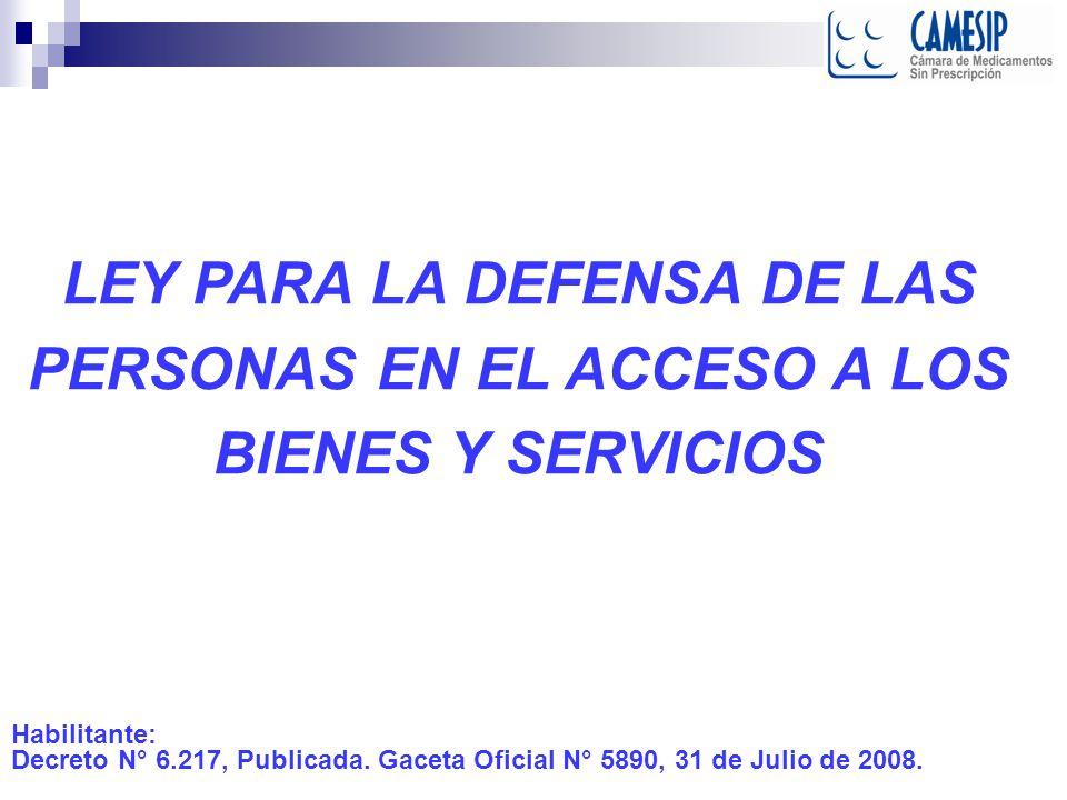 LEY PARA LA DEFENSA DE LAS PERSONAS EN EL ACCESO A LOS