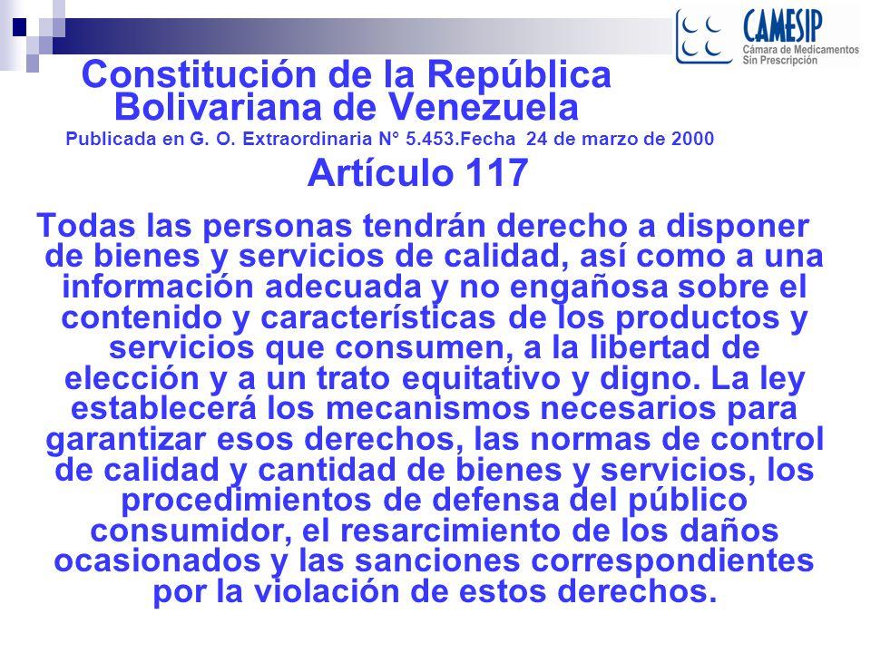 Constitución de la República Bolivariana de Venezuela. Publicada en G