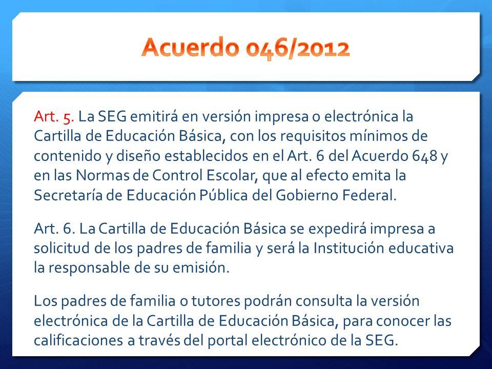 Acuerdo 046/2012