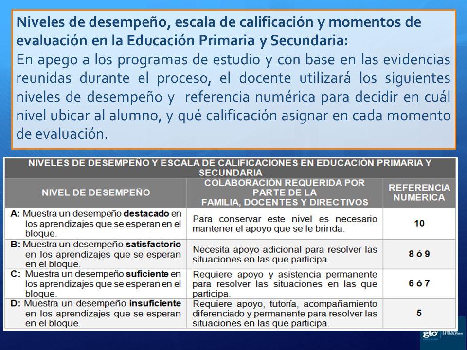 Niveles de desempeño, escala de calificación y momentos de evaluación en la Educación Primaria y Secundaria: