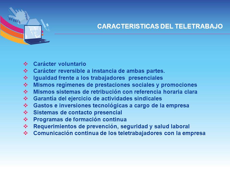 CARACTERISTICAS DEL TELETRABAJO