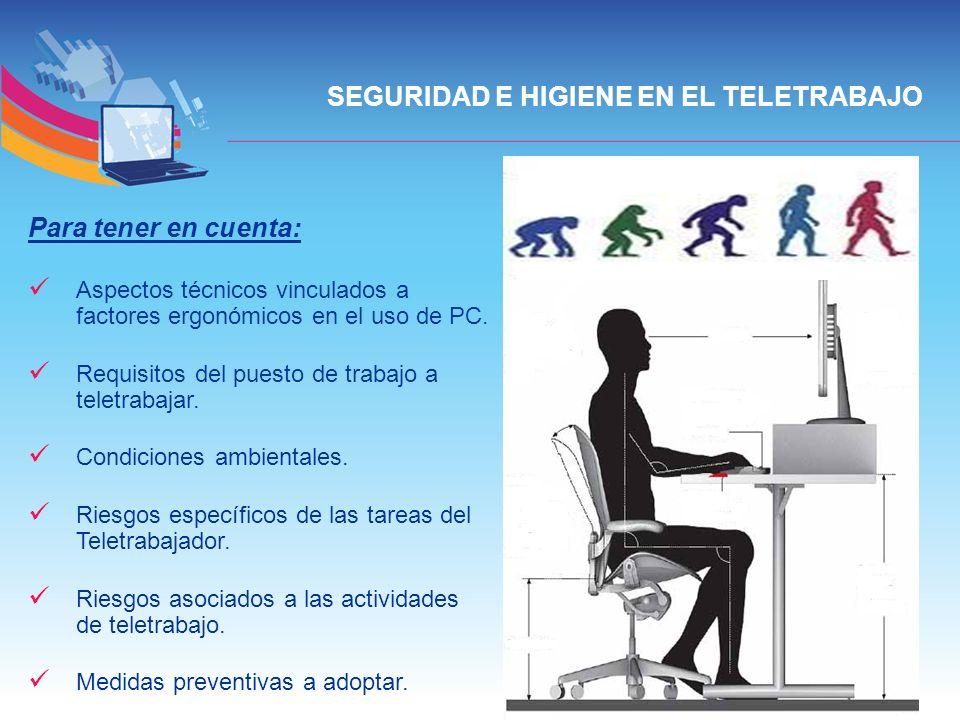 SEGURIDAD E HIGIENE EN EL TELETRABAJO