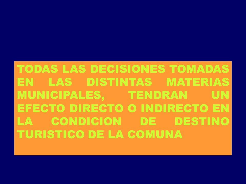 TODAS LAS DECISIONES TOMADAS EN LAS DISTINTAS MATERIAS MUNICIPALES, TENDRAN UN EFECTO DIRECTO O INDIRECTO EN LA CONDICION DE DESTINO TURISTICO DE LA COMUNA
