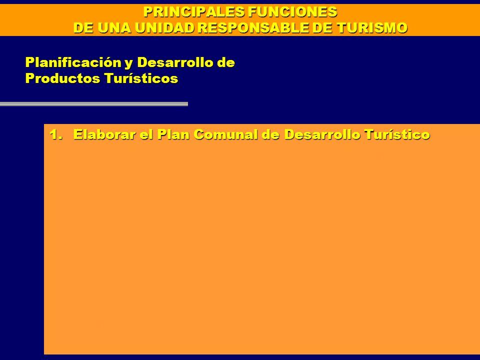PRINCIPALES FUNCIONES DE UNA UNIDAD RESPONSABLE DE TURISMO