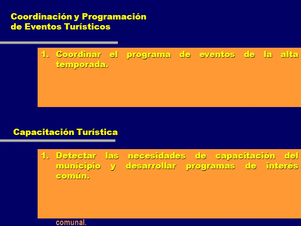 Coordinación y Programación de Eventos Turísticos