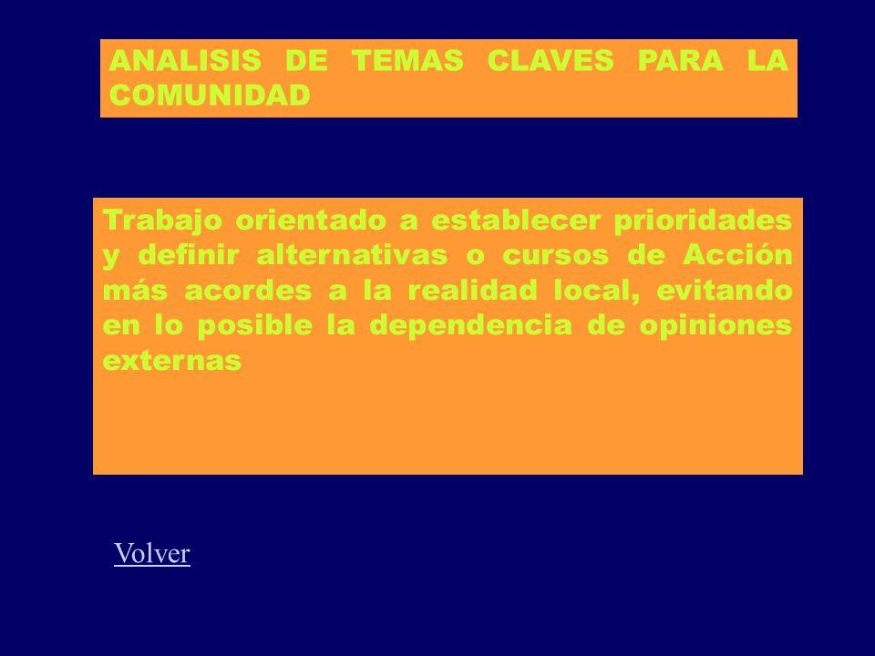 ANALISIS DE TEMAS CLAVES PARA LA COMUNIDAD