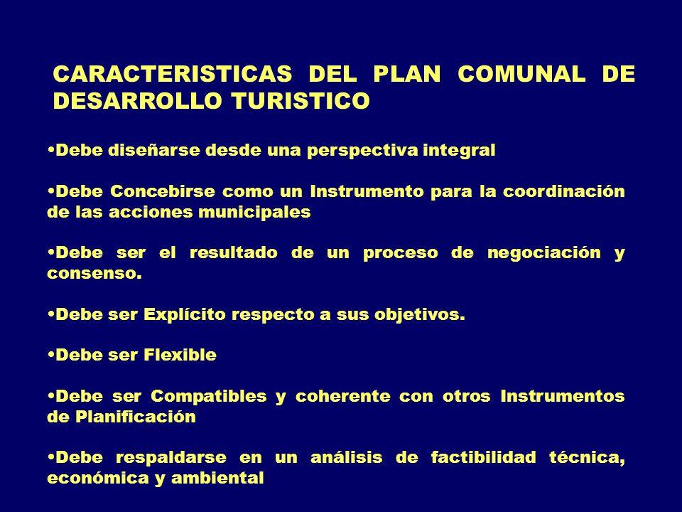 CARACTERISTICAS DEL PLAN COMUNAL DE DESARROLLO TURISTICO
