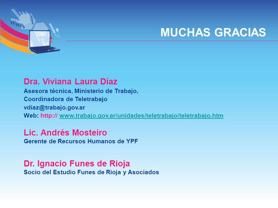 MUCHAS GRACIAS Dra. Viviana Laura Díaz Lic. Andrés Mosteiro