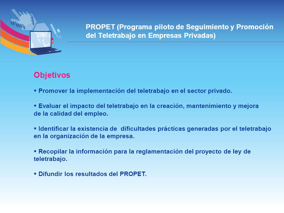 PROPET (Programa piloto de Seguimiento y Promoción del Teletrabajo en Empresas Privadas)