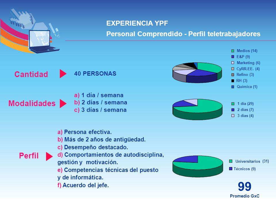 99 Cantidad Modalidades Perfil EXPERIENCIA YPF