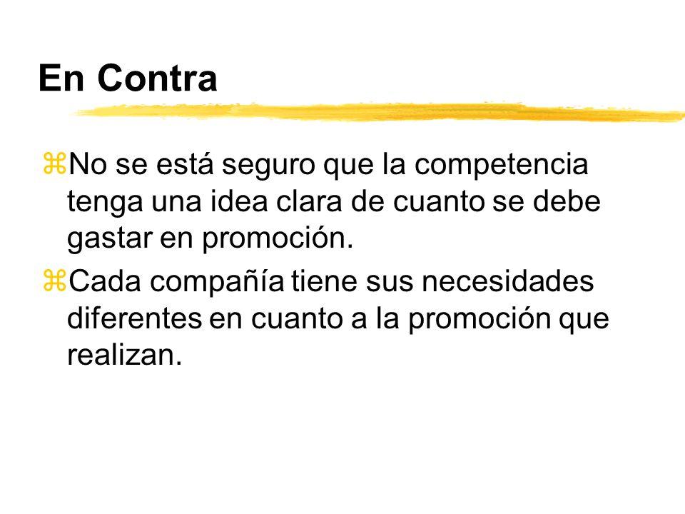 En Contra No se está seguro que la competencia tenga una idea clara de cuanto se debe gastar en promoción.