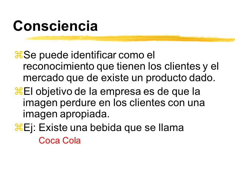Consciencia Se puede identificar como el reconocimiento que tienen los clientes y el mercado que de existe un producto dado.
