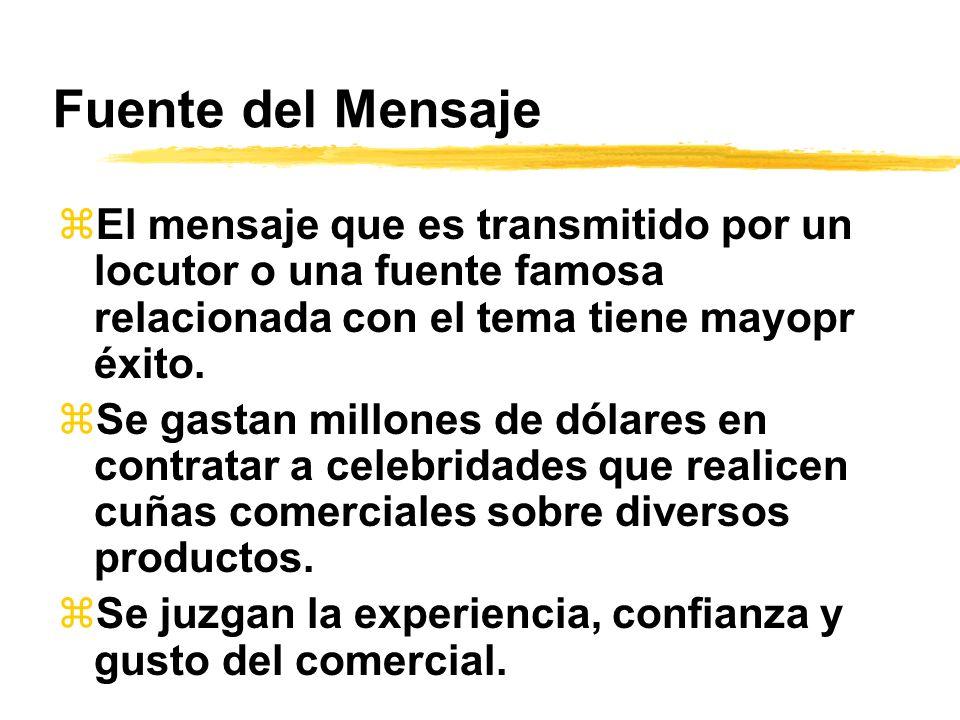 Fuente del Mensaje El mensaje que es transmitido por un locutor o una fuente famosa relacionada con el tema tiene mayopr éxito.