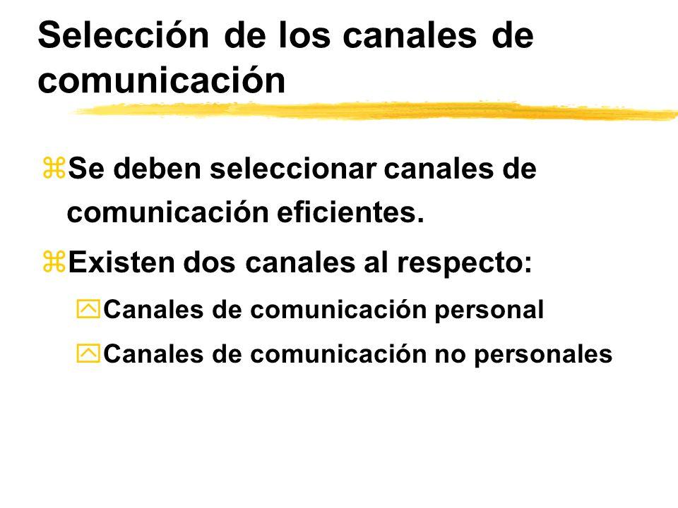 Selección de los canales de comunicación