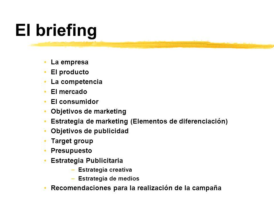El briefing La empresa El producto La competencia El mercado