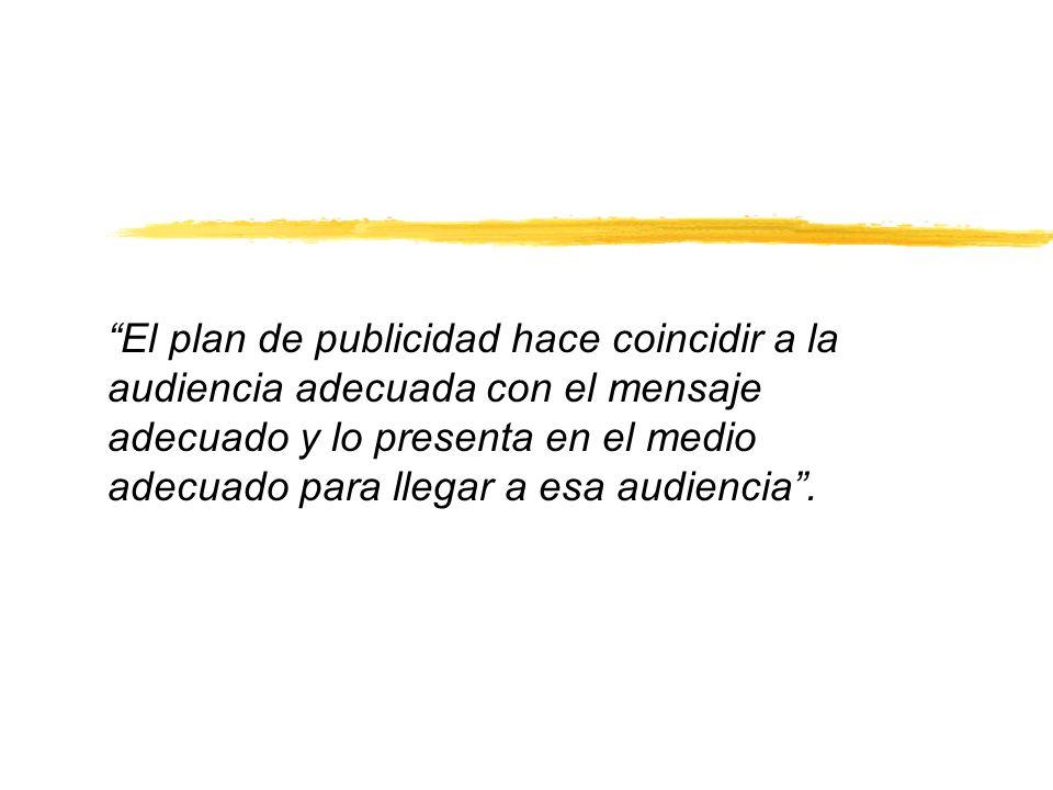 El plan de publicidad hace coincidir a la audiencia adecuada con el mensaje adecuado y lo presenta en el medio adecuado para llegar a esa audiencia .