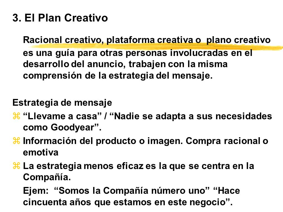 3. El Plan Creativo