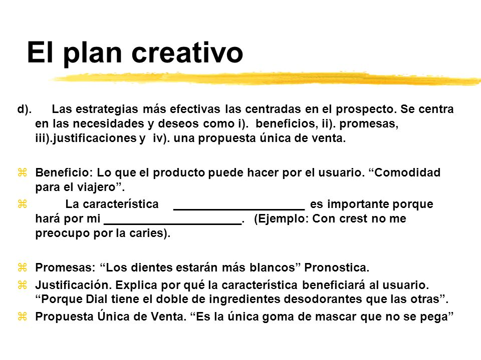 El plan creativo