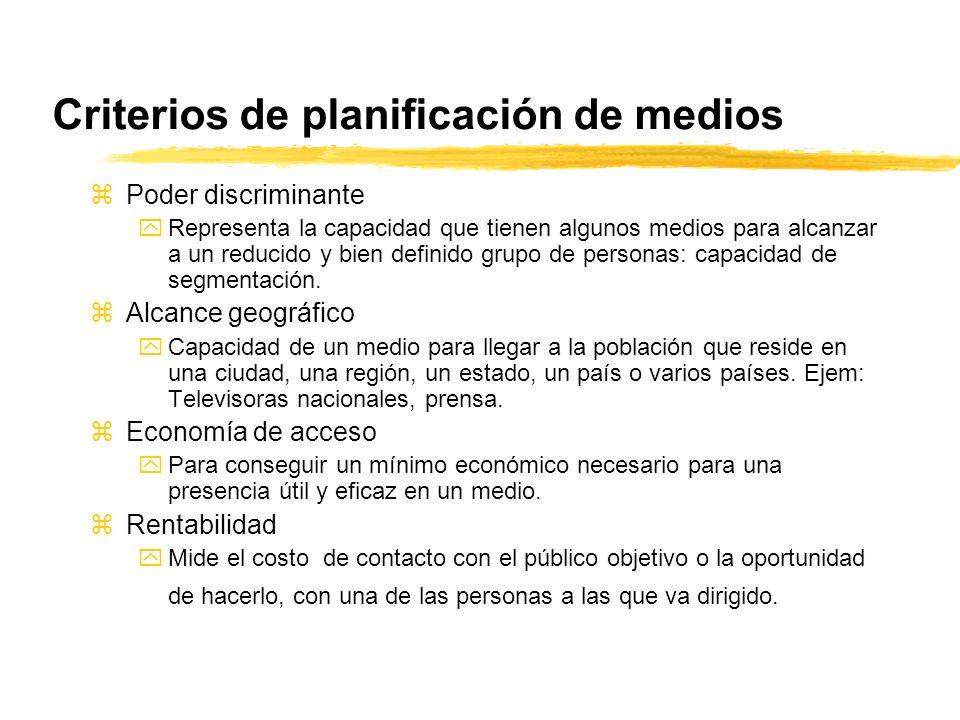 Criterios de planificación de medios